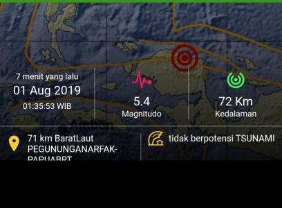 BMKG Catat Gempa Guncang Pegunungan Arfak Papua Barat Kedalaman 72 Kilometer, Terasa Hingga di Manokwari