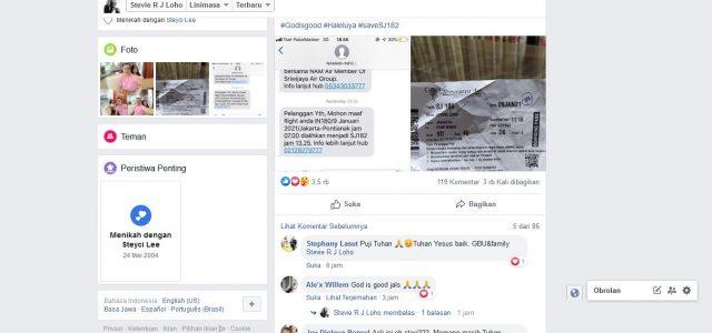 Pengalihan Penerbangan Selamatkan Stevie RJ Loho dari Jatuhnya Sriwijaya Air SJ 182