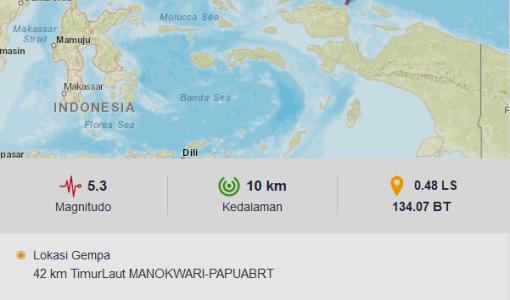 Gempa M5.3 Guncang Manokwari, Tidak Potensi Tsunami