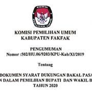 Penyerahan Dokumen Syarat Dukungan Bakal Pasangan Pasangan Calon Perseorangan Dalam Pilbup dan Wabup Fakfak Tahun 2020