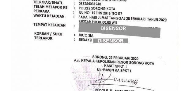 Tidak Terima Namanya Dicatut, Rico Sia Laporkan Salah Satu Media Online di Sorong