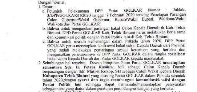 Pilkada Bintuni, Piet-Matret Terima Surat Tugas DPP Golkar