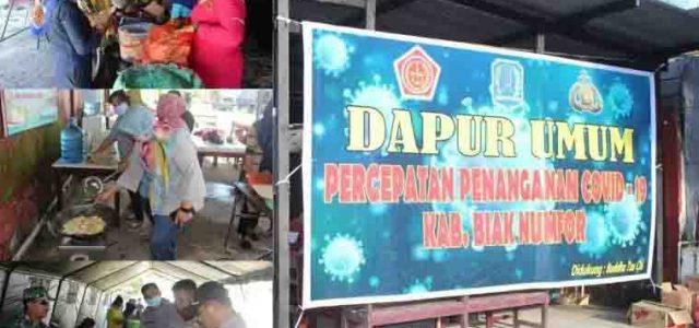 Polisi-TNI Dirikan Dapur Umum Warga Terdampak COVID-19 di Biak