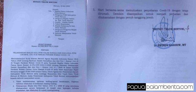 Inilah Surat Edaran Pelaksanaan Sholat Idul Fitri 1441 H – 2020 M di Teluk Bintuni