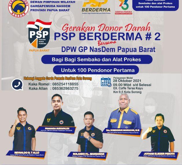 Gerakan Donor Darah PSP Berderma, DPW GP NasDem Papua Barat